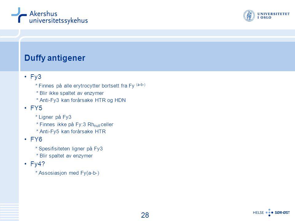 29 Duffy antigener Fy3 * Finnes på alle erytrocytter bortsett fra Fy (a-b-) * Blir ikke spaltet av enzymer * Anti-Fy3 kan forårsake HTR og HDN FY5 * Ligner på Fy3 * Finnes ikke på Fy:3 Rh null celler * Anti-Fy5 kan forårsake HTR FY6 * Spesifisiteten ligner på Fy3 * Blir spaltet av enzymer Fy4.