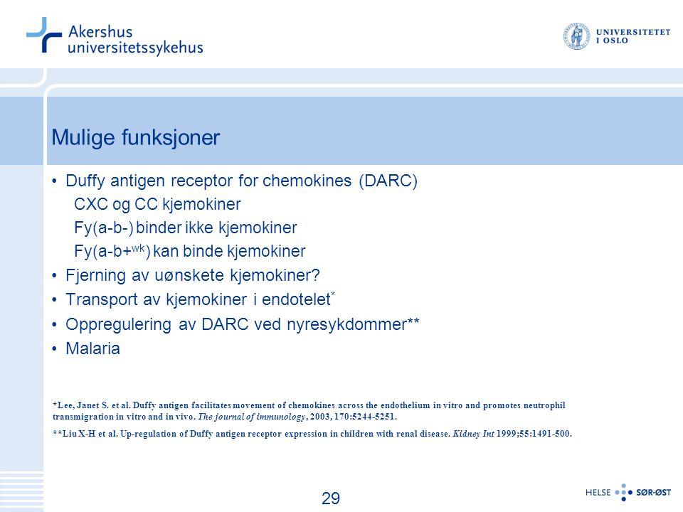 30 Mulige funksjoner Duffy antigen receptor for chemokines (DARC) CXC og CC kjemokiner Fy(a-b-) binder ikke kjemokiner Fy(a-b+ wk ) kan binde kjemokiner Fjerning av uønskete kjemokiner.