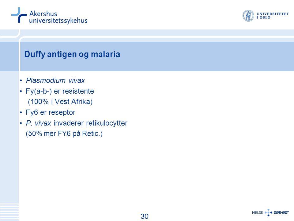 31 Duffy antigen og malaria Plasmodium vivax Fy(a-b-) er resistente (100% i Vest Afrika) Fy6 er reseptor P.