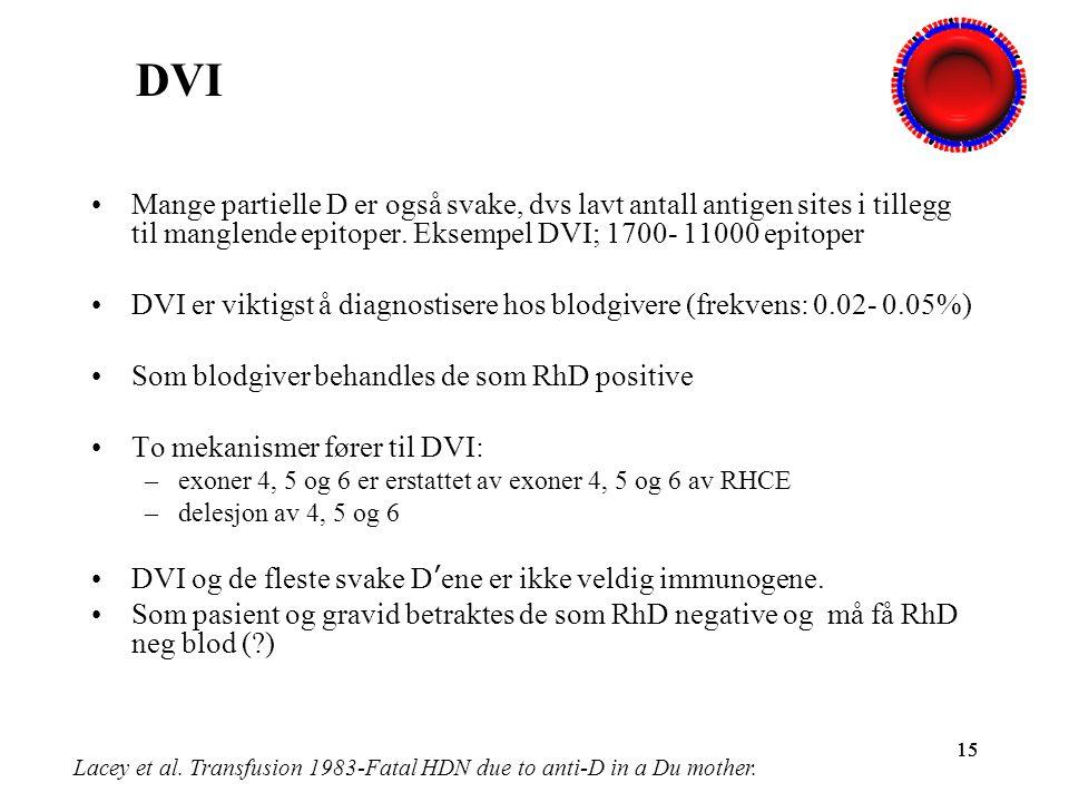 15 Mange partielle D er også svake, dvs lavt antall antigen sites i tillegg til manglende epitoper. Eksempel DVI; 1700- 11000 epitoper DVI er viktigst