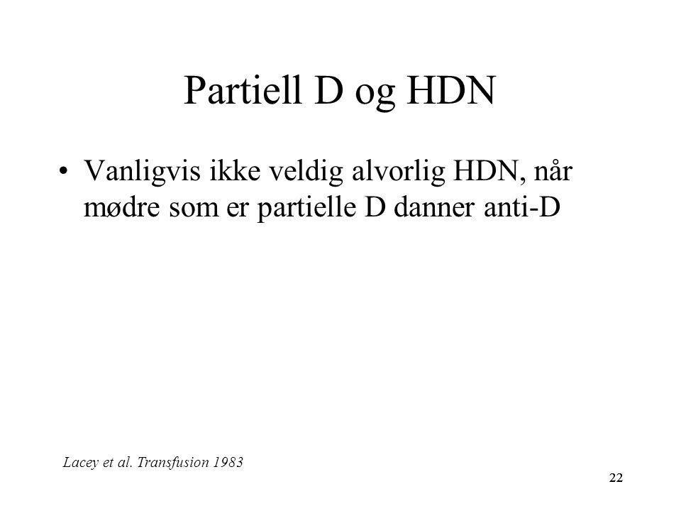 22 Partiell D og HDN Vanligvis ikke veldig alvorlig HDN, når mødre som er partielle D danner anti-D 22 Lacey et al. Transfusion 1983