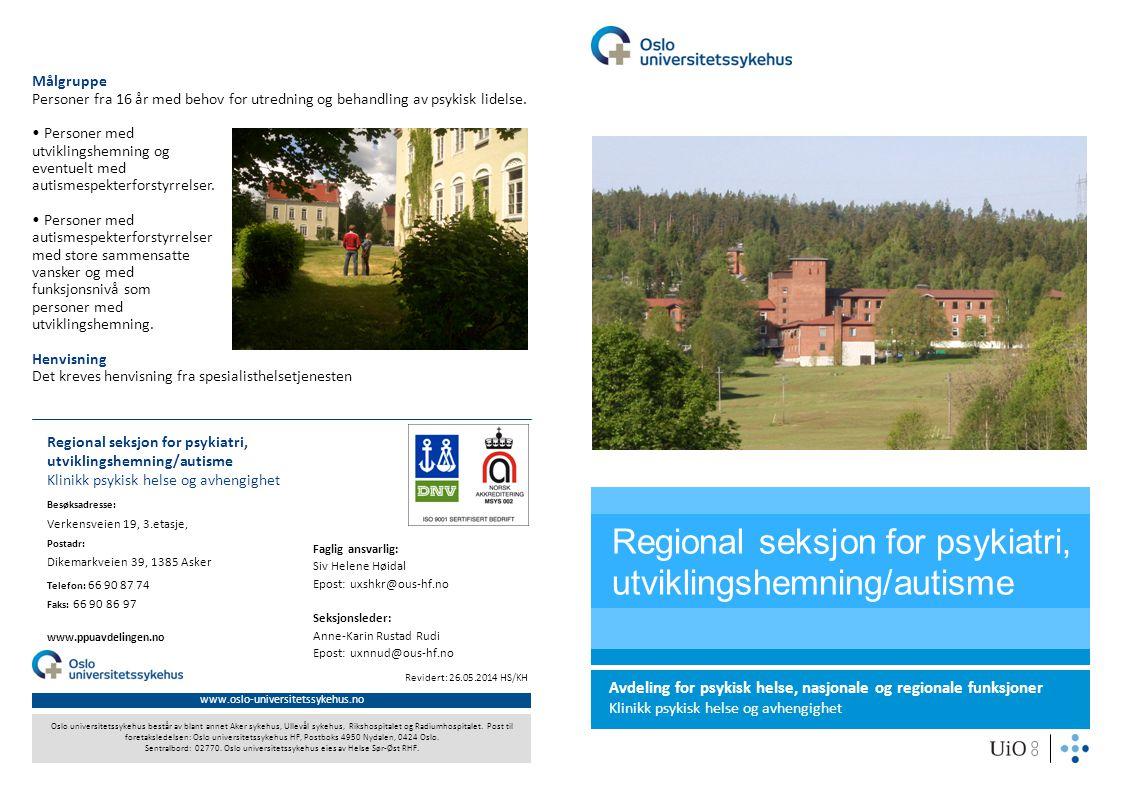 www.oslo-universitetssykehus.no Oslo universitetssykehus består av blant annet Aker sykehus, Ullevål sykehus, Rikshospitalet og Radiumhospitalet. Post