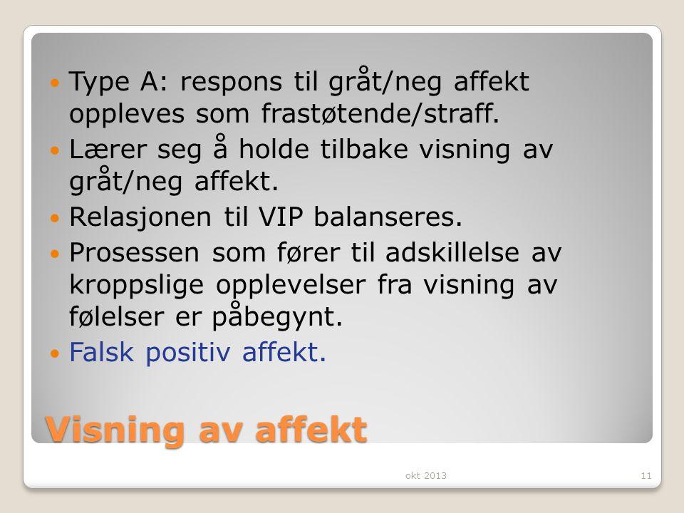 Visning av affekt Type A: respons til gråt/neg affekt oppleves som frastøtende/straff. Lærer seg å holde tilbake visning av gråt/neg affekt. Relasjone