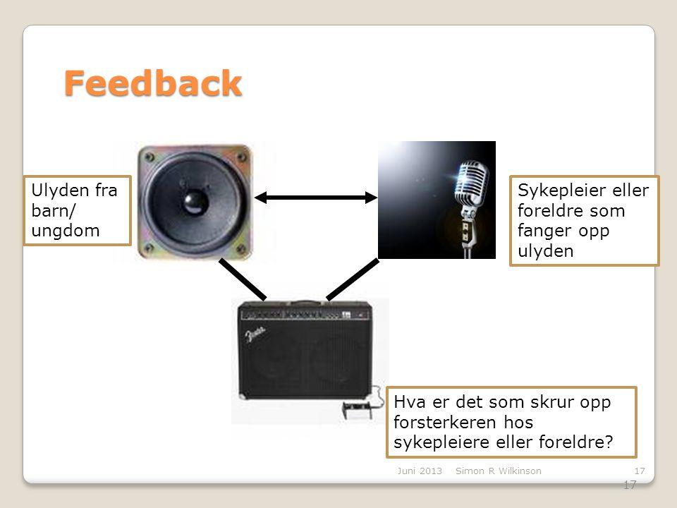 17 Juni 2013Simon R Wilkinson17 Feedback Amplifier Sykepleier eller foreldre som fanger opp ulyden Ulyden fra barn/ ungdom Hva er det som skrur opp fo
