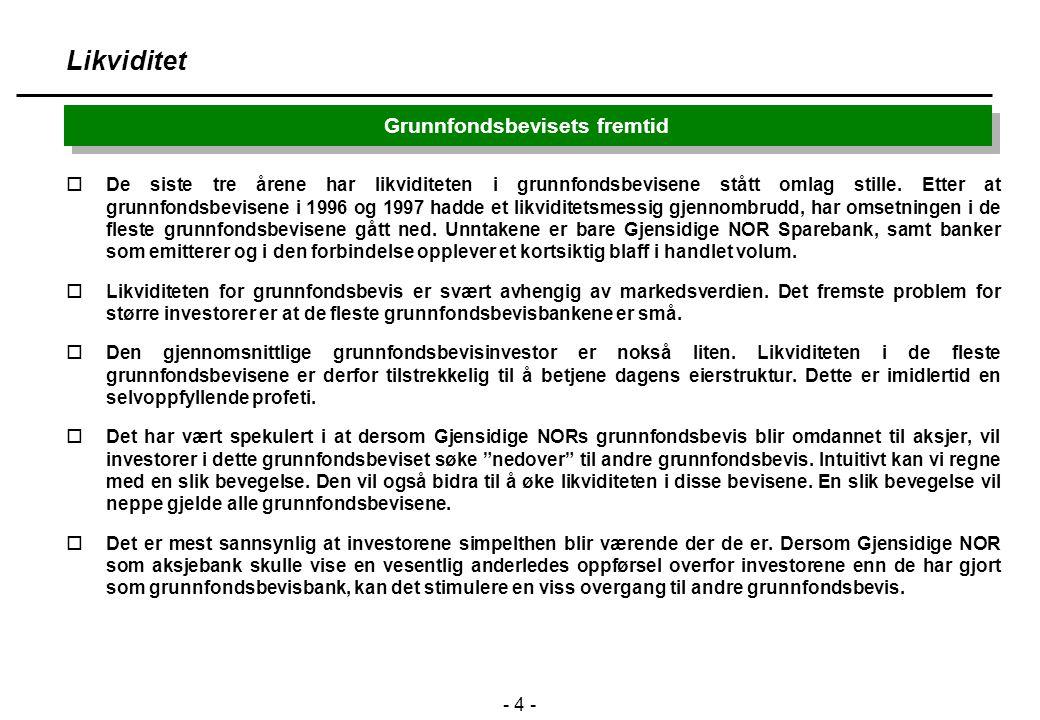 - 5 - Grunnfondsbevisets fremtid Likvidtet - SNOG vs. MORG