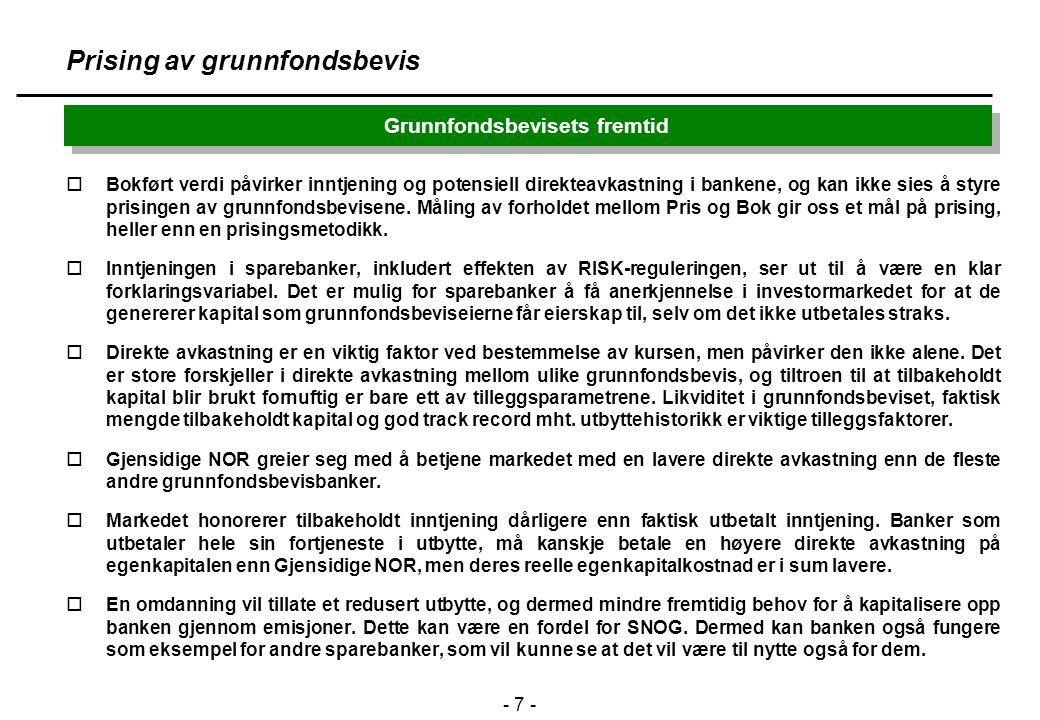 - 7 - Grunnfondsbevisets fremtid Prising av grunnfondsbevis oBokført verdi påvirker inntjening og potensiell direkteavkastning i bankene, og kan ikke sies å styre prisingen av grunnfondsbevisene.
