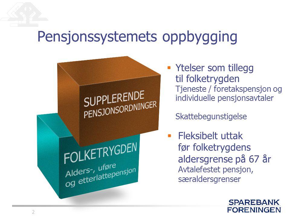2  Ytelser som tillegg til folketrygden Tjeneste / foretakspensjon og individuelle pensjonsavtaler Skattebegunstigelse  Fleksibelt uttak før folketr
