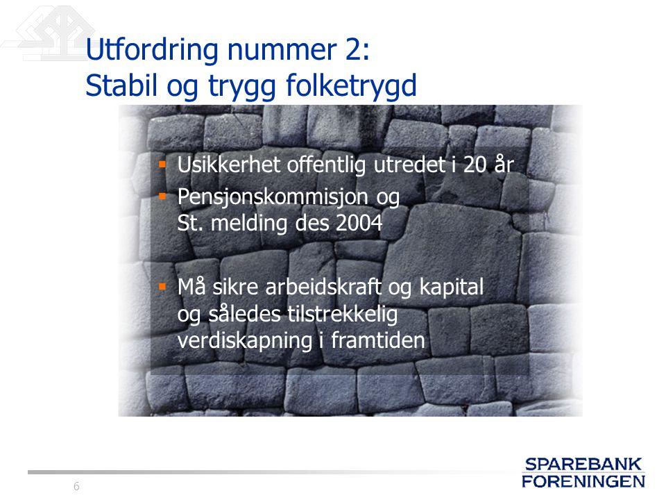 6 Utfordring nummer 2: Stabil og trygg folketrygd  Usikkerhet offentlig utredet i 20 år  Pensjonskommisjon og St. melding des 2004  Må sikre arbeid