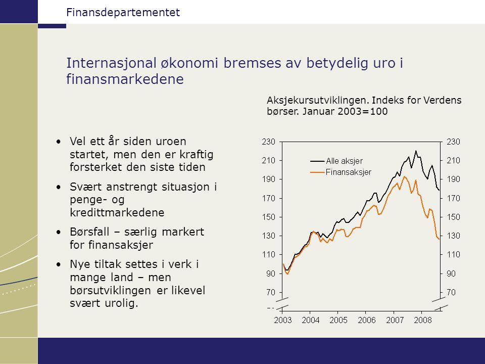 Finansdepartementet Internasjonal økonomi bremses av betydelig uro i finansmarkedene Aksjekursutviklingen. Indeks for Verdens børser. Januar 2003=100