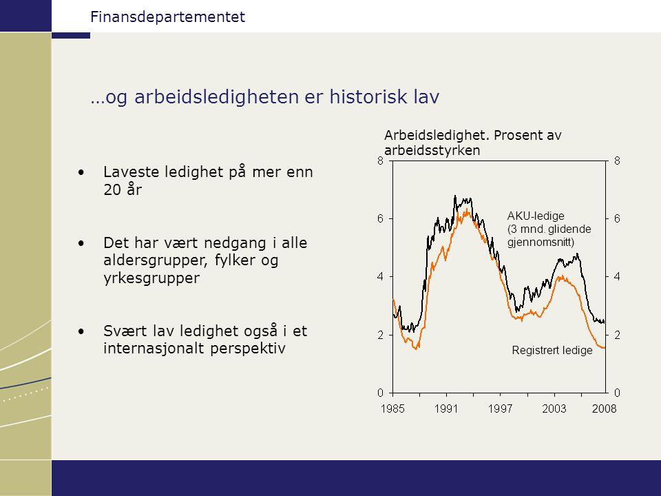 Finansdepartementet …og arbeidsledigheten er historisk lav Registrert ledige AKU-ledige (3 mnd. glidende gjennomsnitt) 2008 Arbeidsledighet. Prosent a