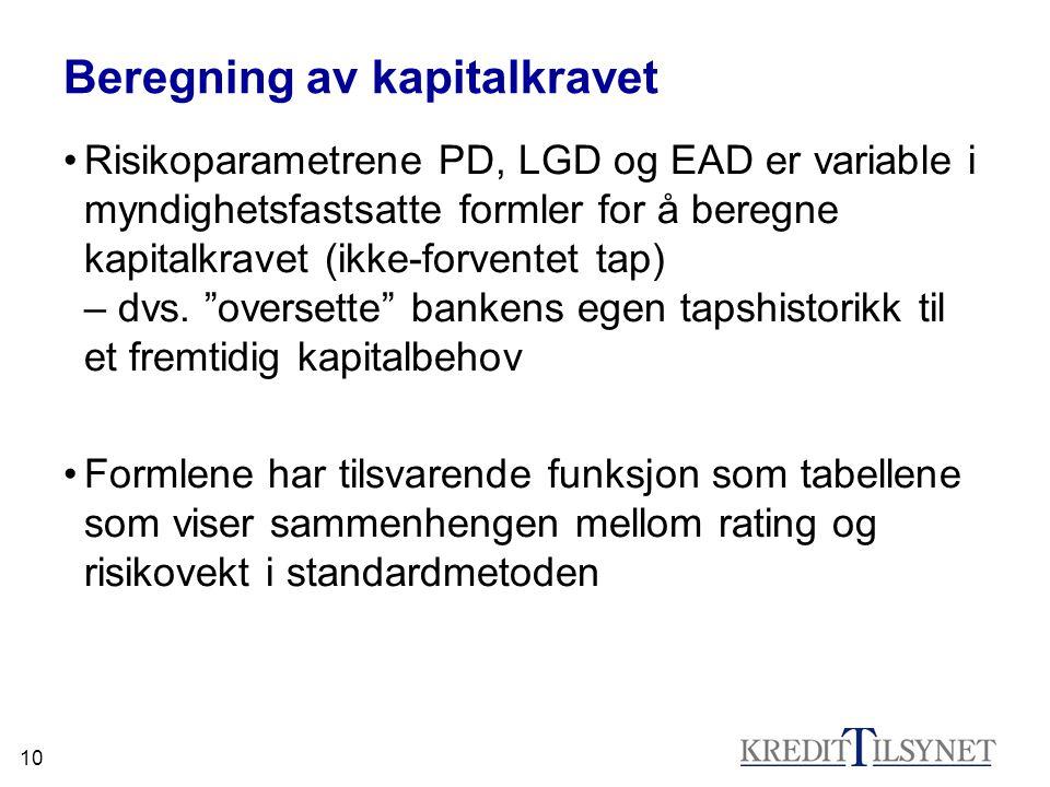 10 Beregning av kapitalkravet Risikoparametrene PD, LGD og EAD er variable i myndighetsfastsatte formler for å beregne kapitalkravet (ikke-forventet t