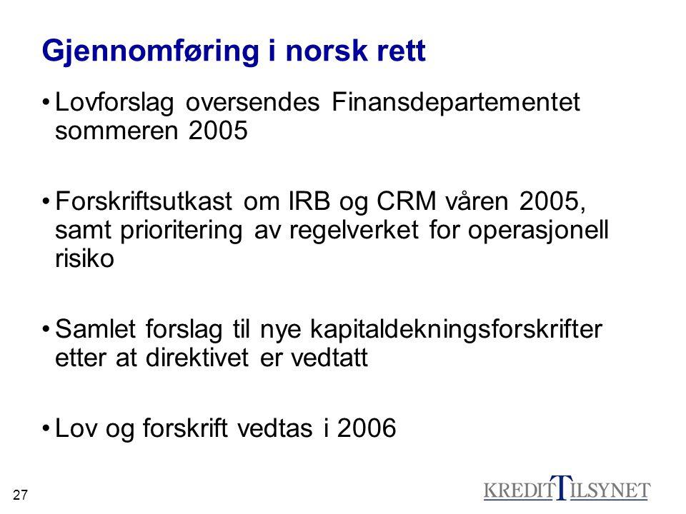 27 Gjennomføring i norsk rett Lovforslag oversendes Finansdepartementet sommeren 2005 Forskriftsutkast om IRB og CRM våren 2005, samt prioritering av