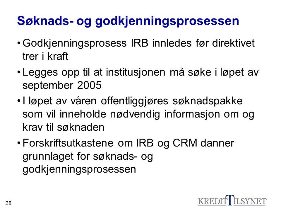 28 Søknads- og godkjenningsprosessen Godkjenningsprosess IRB innledes før direktivet trer i kraft Legges opp til at institusjonen må søke i løpet av s
