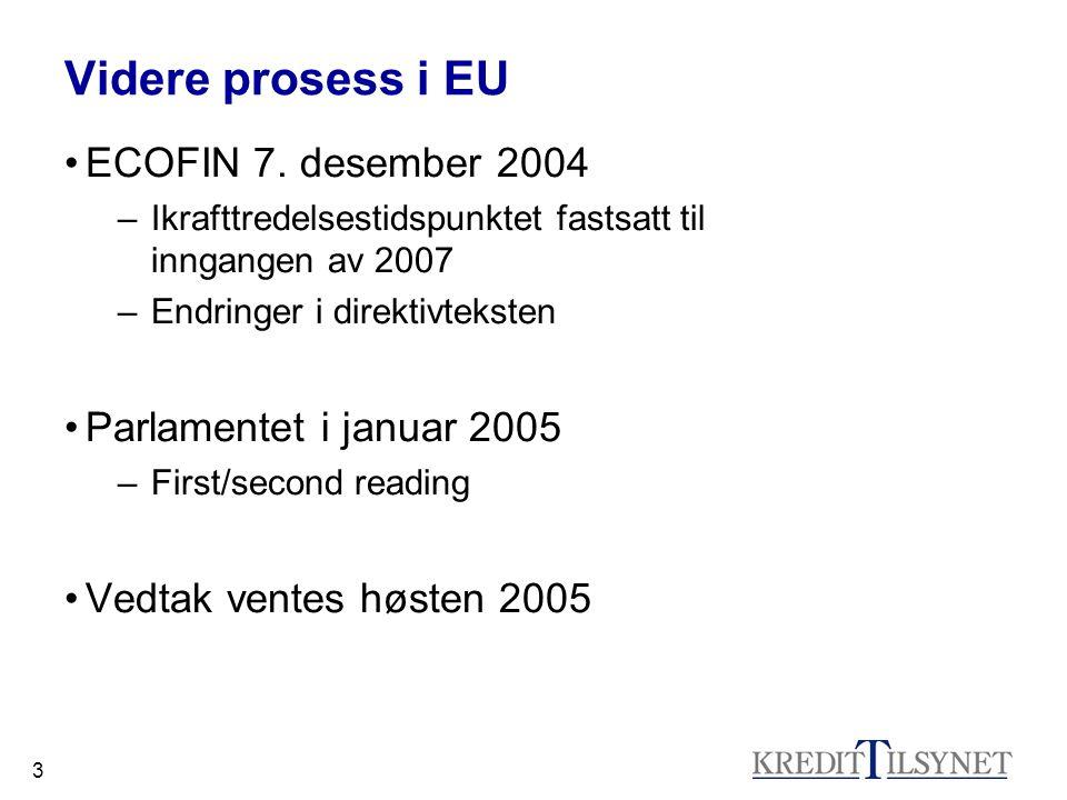3 Videre prosess i EU ECOFIN 7. desember 2004 –Ikrafttredelsestidspunktet fastsatt til inngangen av 2007 –Endringer i direktivteksten Parlamentet i ja