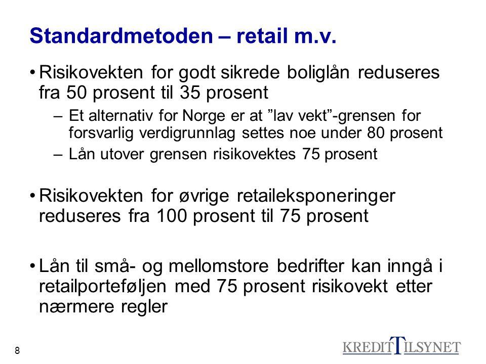 """8 Standardmetoden – retail m.v. Risikovekten for godt sikrede boliglån reduseres fra 50 prosent til 35 prosent –Et alternativ for Norge er at """"lav vek"""