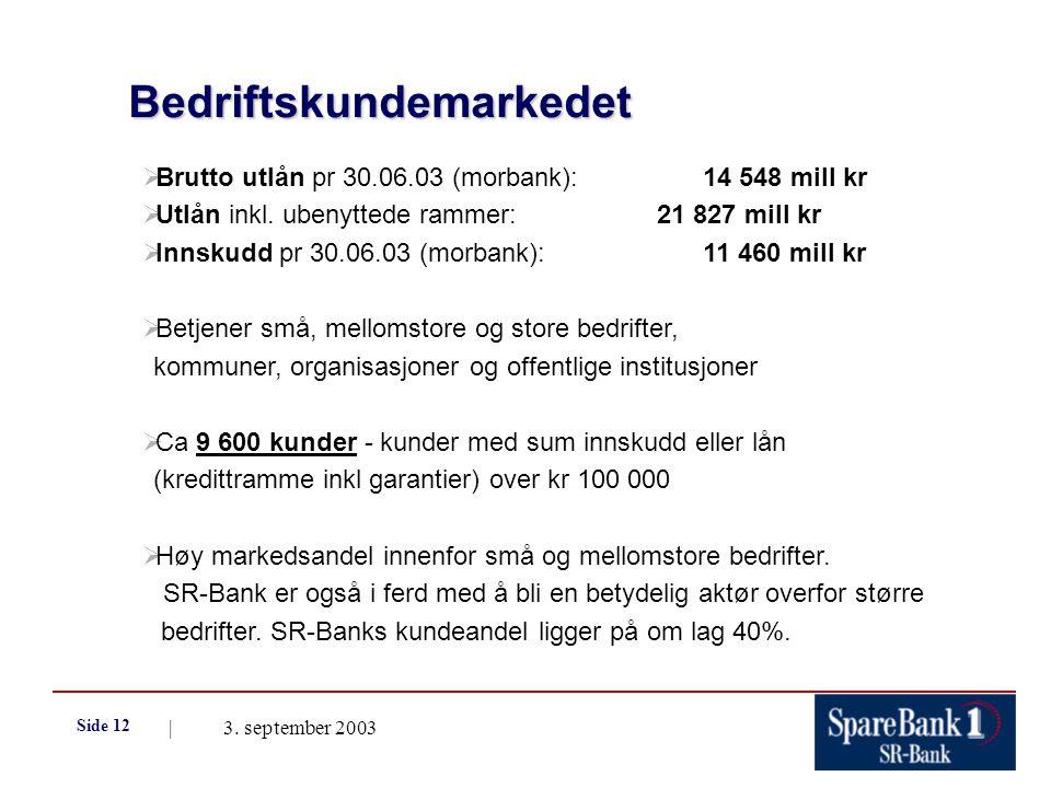 | 3. september 2003 Side 12 Bedriftskundemarkedet Bedriftskundemarkedet  Brutto utlån pr 30.06.03 (morbank):14 548 mill kr  Utlån inkl. ubenyttede r