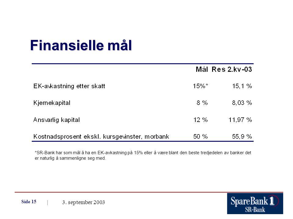| 3. september 2003 Side 15 Finansielle mål *SR-Bank har som mål å ha en EK-avkastning på 15% eller å være blant den beste tredjedelen av banker det e