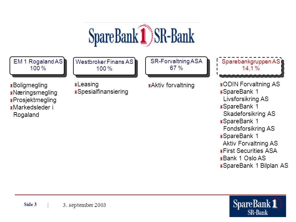 | 3. september 2003 Side 3 EM 1 Rogaland AS 100 % Westbroker Finans AS 100 % Sparebankgruppen AS 14,1 % 3 Boligmegling 3 Næringsmegling 3 Prosjektmegl