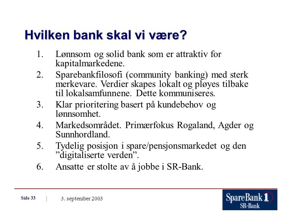 | 3. september 2003 Side 33 Hvilken bank skal vi være.