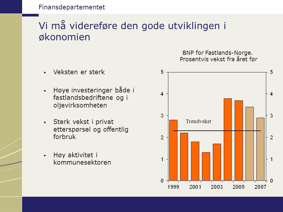Finansdepartementet Aldri har det vært flere i jobb Sysselsetting og arbeidsstyrken.