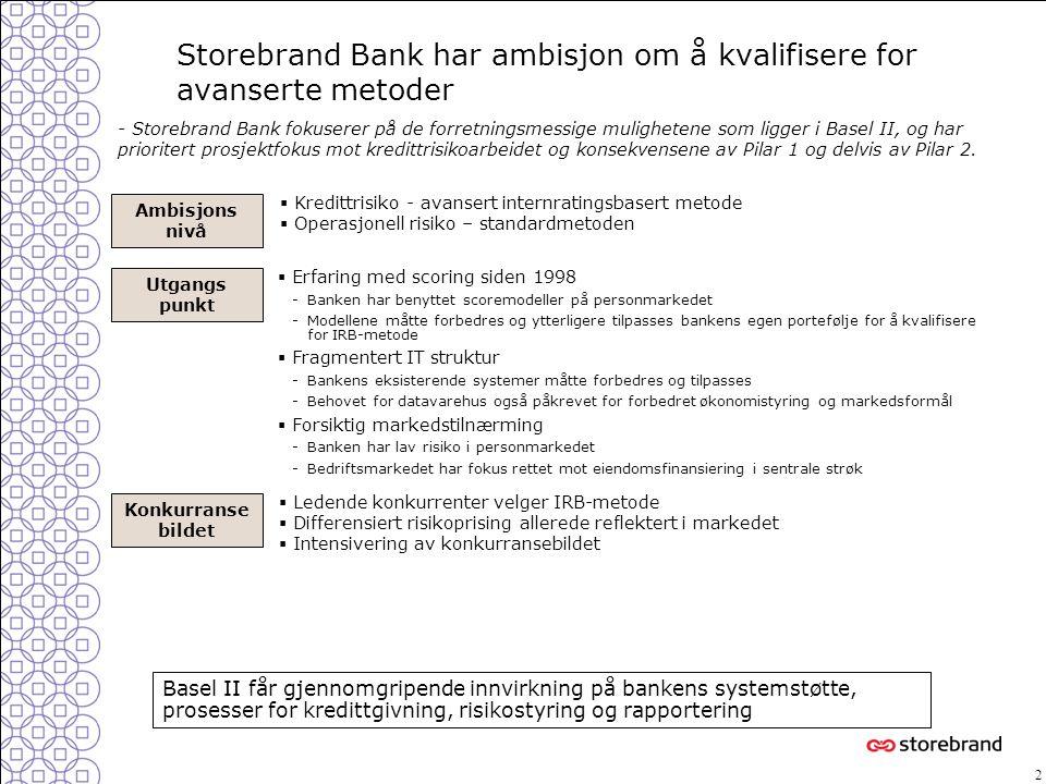 2  Erfaring med scoring siden 1998 -Banken har benyttet scoremodeller på personmarkedet -Modellene måtte forbedres og ytterligere tilpasses bankens e