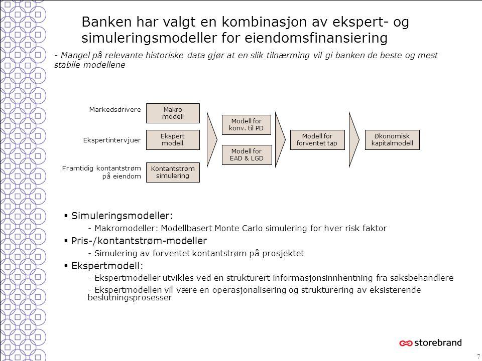7  Simuleringsmodeller: - Makromodeller: Modellbasert Monte Carlo simulering for hver risk faktor  Pris-/kontantstrøm-modeller - Simulering av forve