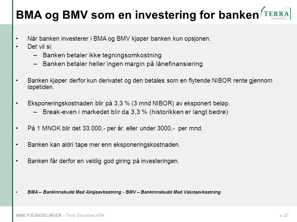 s. 27ANALYSEAVDELINGEN - Terra Securities ASA BMA og BMV som en investering for banken Når banken investerer i BMA og BMV kjøper banken kun opsjonen.