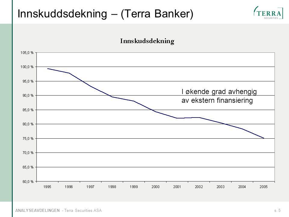 s. 5ANALYSEAVDELINGEN - Terra Securities ASA Innskuddsdekning – (Terra Banker) I økende grad avhengig av ekstern finansiering