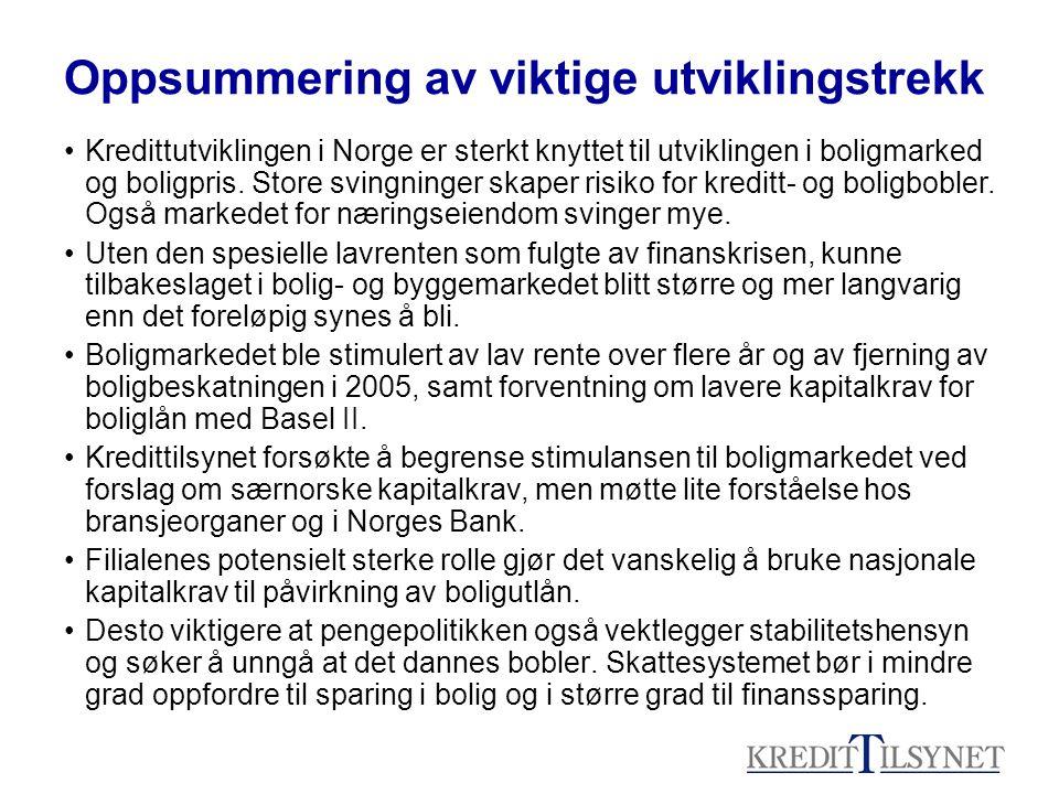 Oppsummering av viktige utviklingstrekk Kredittutviklingen i Norge er sterkt knyttet til utviklingen i boligmarked og boligpris. Store svingninger ska