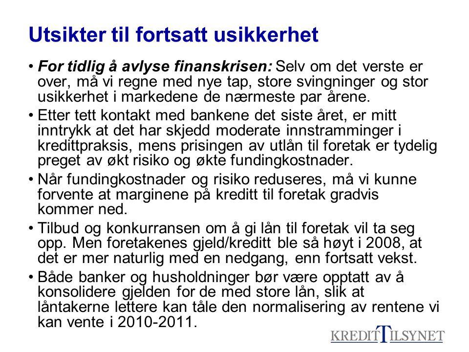 Utsikter til fortsatt usikkerhet For tidlig å avlyse finanskrisen: Selv om det verste er over, må vi regne med nye tap, store svingninger og stor usik