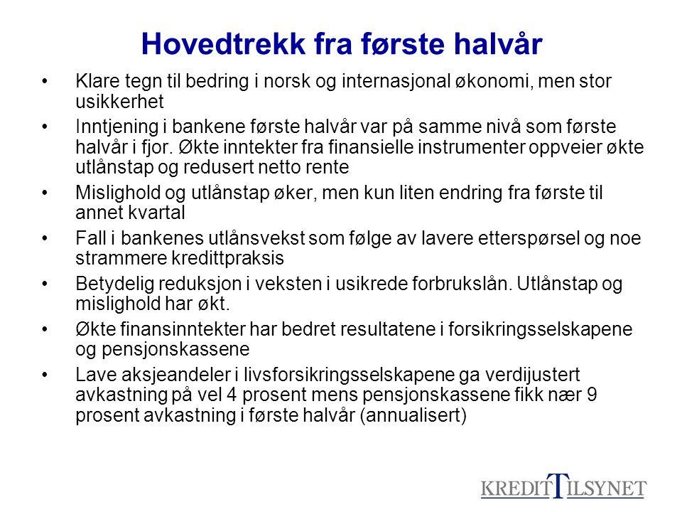Hovedtrekk fra første halvår Klare tegn til bedring i norsk og internasjonal økonomi, men stor usikkerhet Inntjening i bankene første halvår var på sa