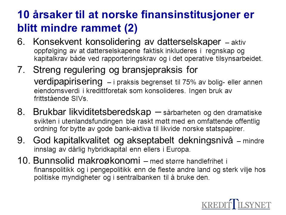 10 årsaker til at norske finansinstitusjoner er blitt mindre rammet (2) 6. Konsekvent konsolidering av datterselskaper – aktiv oppfølging av at datter