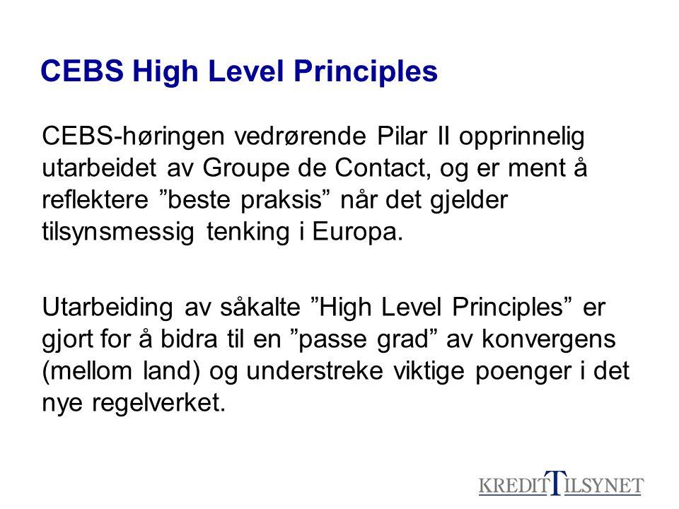 CEBS High Level Principles CEBS-høringen vedrørende Pilar II opprinnelig utarbeidet av Groupe de Contact, og er ment å reflektere beste praksis når det gjelder tilsynsmessig tenking i Europa.