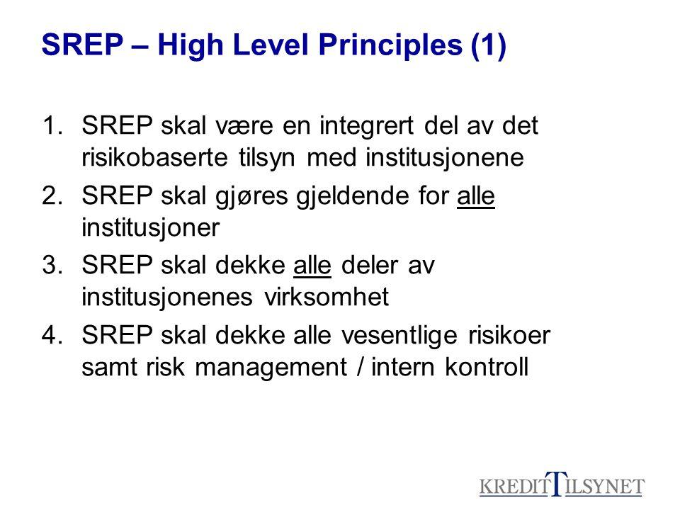 SREP – High Level Principles (1) 1.SREP skal være en integrert del av det risikobaserte tilsyn med institusjonene 2.SREP skal gjøres gjeldende for alle institusjoner 3.SREP skal dekke alle deler av institusjonenes virksomhet 4.SREP skal dekke alle vesentlige risikoer samt risk management / intern kontroll
