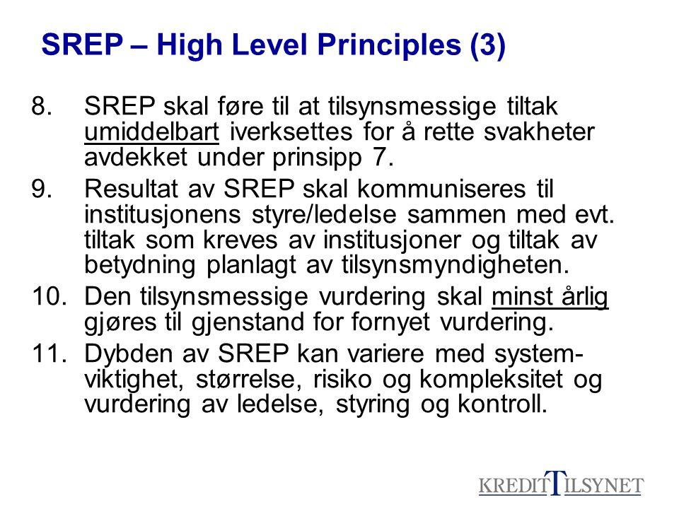 8. SREP skal føre til at tilsynsmessige tiltak umiddelbart iverksettes for å rette svakheter avdekket under prinsipp 7. 9.Resultat av SREP skal kommun