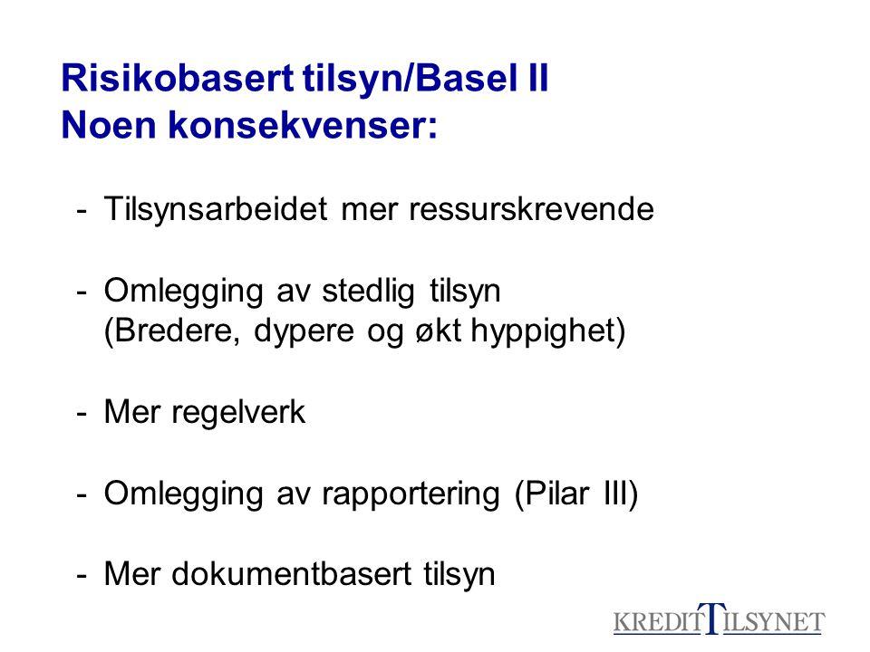 Risikobasert tilsyn/Basel II Noen konsekvenser: -Tilsynsarbeidet mer ressurskrevende -Omlegging av stedlig tilsyn (Bredere, dypere og økt hyppighet) -Mer regelverk -Omlegging av rapportering (Pilar III) -Mer dokumentbasert tilsyn
