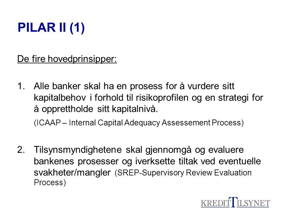 PILAR II (1) De fire hovedprinsipper: 1.Alle banker skal ha en prosess for å vurdere sitt kapitalbehov i forhold til risikoprofilen og en strategi for