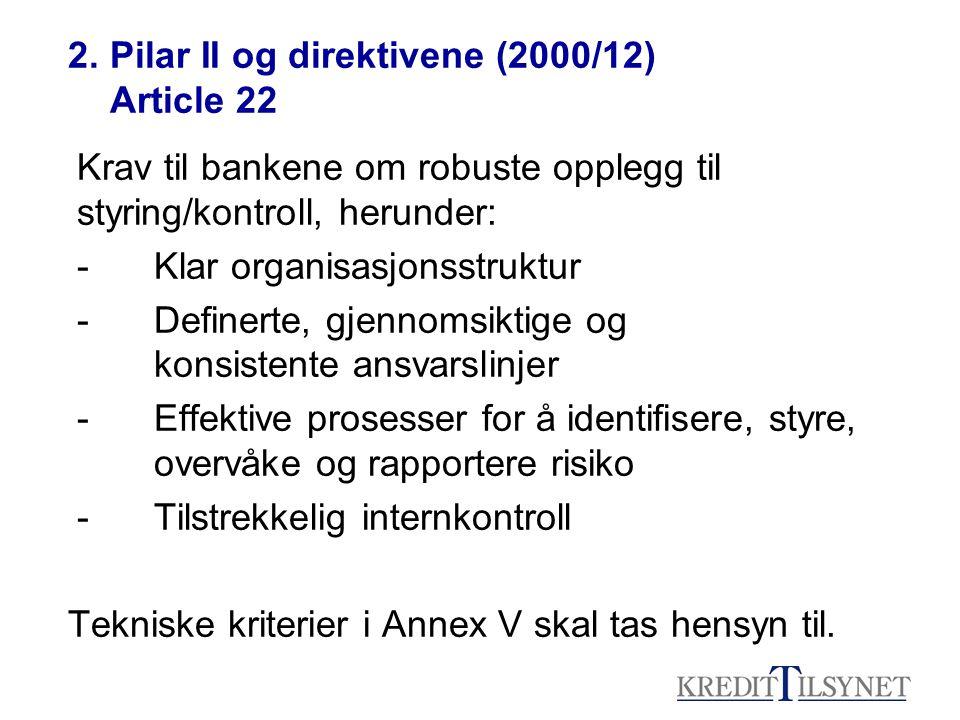 2. Pilar II og direktivene (2000/12) Article 22 Krav til bankene om robuste opplegg til styring/kontroll, herunder: -Klar organisasjonsstruktur -Defin