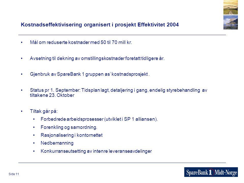 Side 11 Kostnadseffektivisering organisert i prosjekt Effektivitet 2004 Mål om reduserte kostnader med 50 til 70 mill kr.