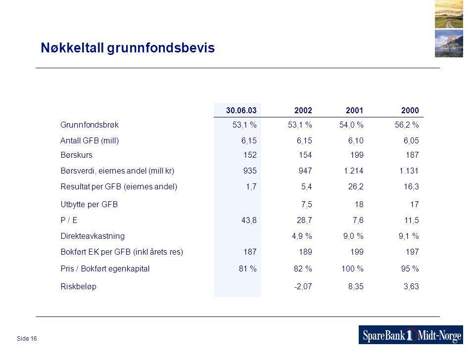 Side 16 Nøkkeltall grunnfondsbevis 30.06.03200220012000 Grunnfondsbrøk53,1 % 54,0 %56,2 % Antall GFB (mill)6,15 6,106,05 Børskurs152 154199187 Børsver