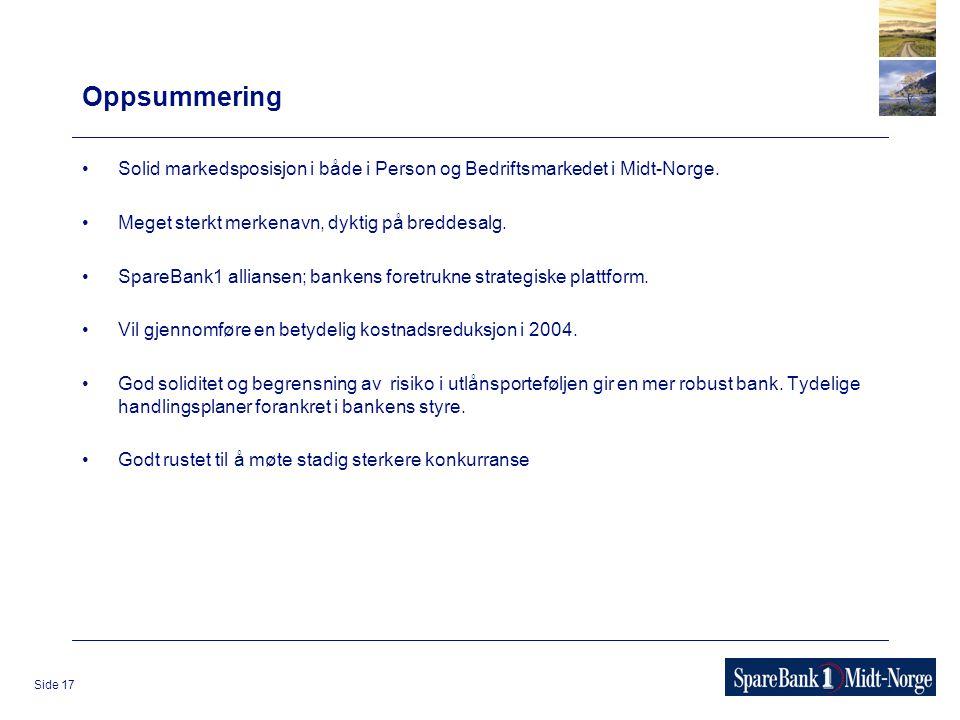 Side 17 Oppsummering Solid markedsposisjon i både i Person og Bedriftsmarkedet i Midt-Norge. Meget sterkt merkenavn, dyktig på breddesalg. SpareBank1
