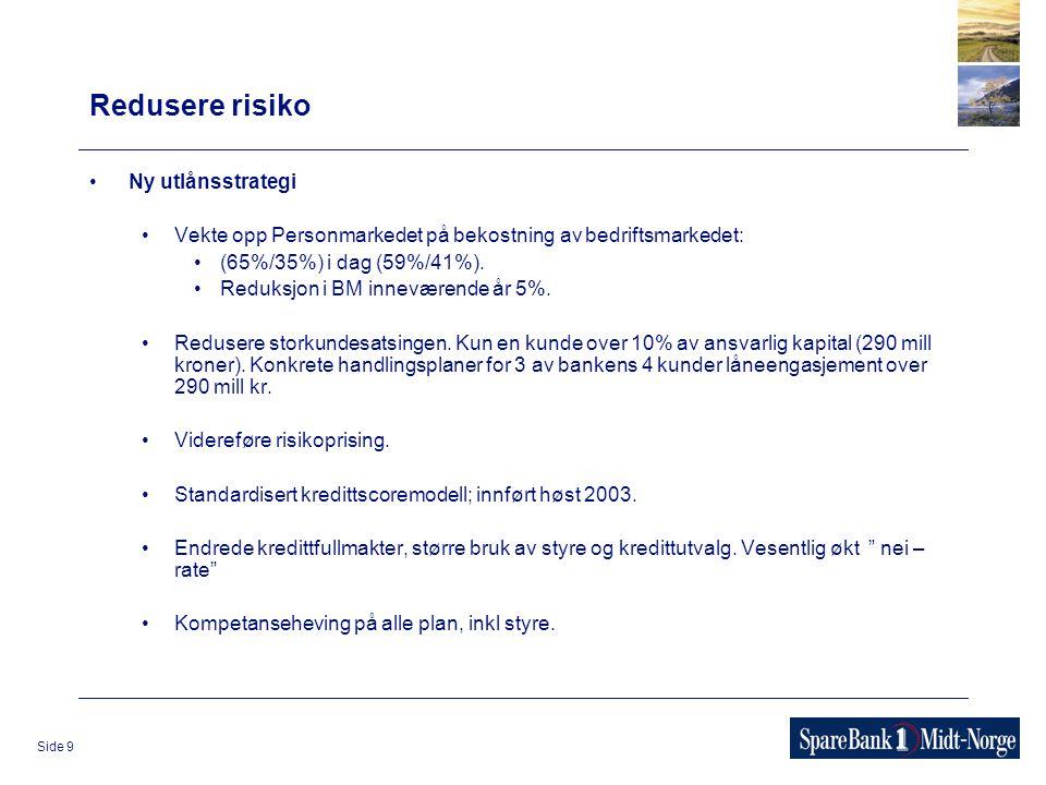 Side 9 Redusere risiko Ny utlånsstrategi Vekte opp Personmarkedet på bekostning av bedriftsmarkedet: (65%/35%) i dag (59%/41%). Reduksjon i BM innevær