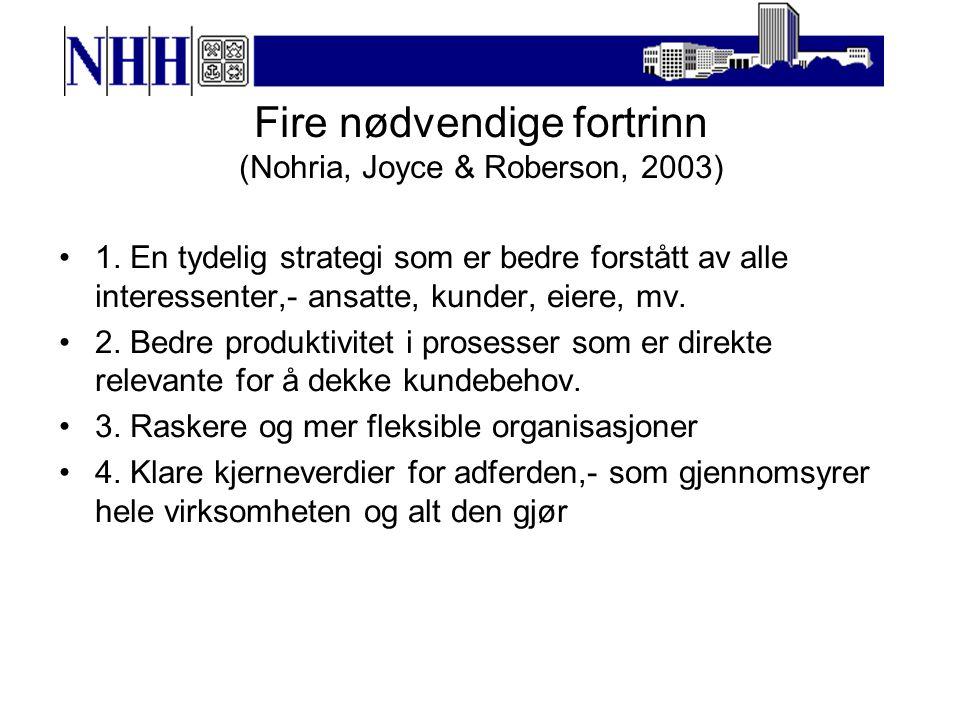 Fire nødvendige fortrinn (Nohria, Joyce & Roberson, 2003) 1.