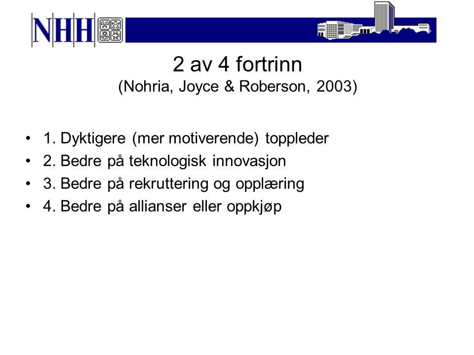 2 av 4 fortrinn (Nohria, Joyce & Roberson, 2003) 1.