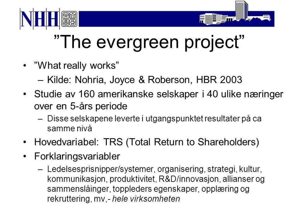 What really works (2) 40 av de 160 bedriftene hadde ekstremt gode resultater –Alle disse hadde en vekst i TRS på over 900% Forskningsteamet identifiserte de faktorene som best kunne forklare veksten.