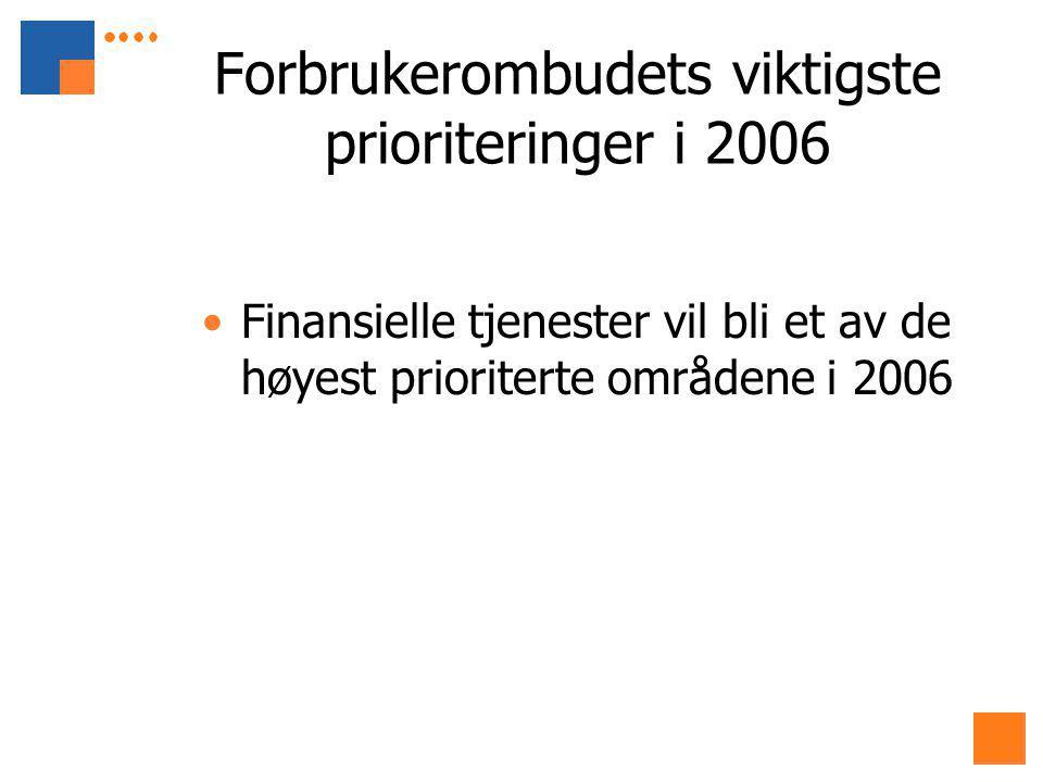 Forbrukerombudets viktigste prioriteringer i 2006 Finansielle tjenester vil bli et av de høyest prioriterte områdene i 2006