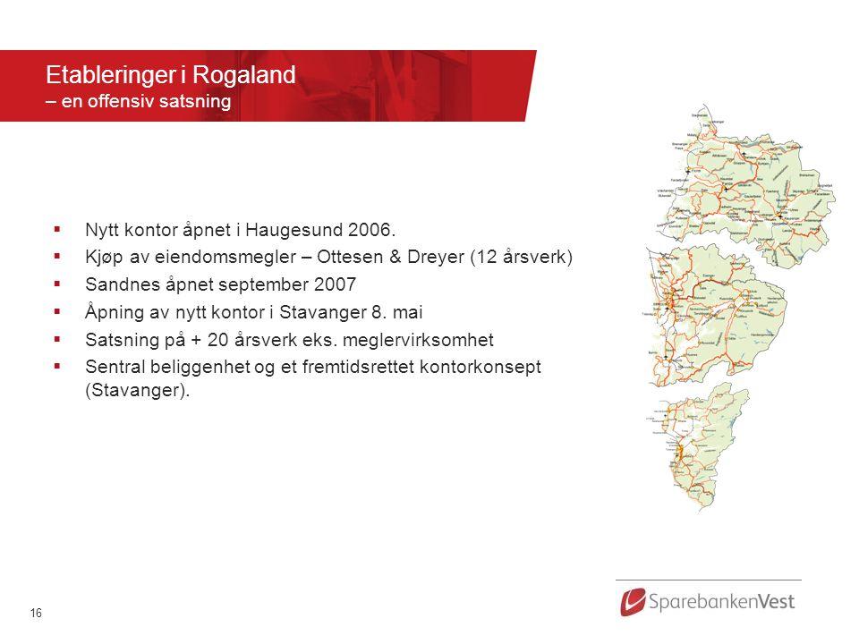 16  Nytt kontor åpnet i Haugesund 2006.  Kjøp av eiendomsmegler – Ottesen & Dreyer (12 årsverk)  Sandnes åpnet september 2007  Åpning av nytt kont