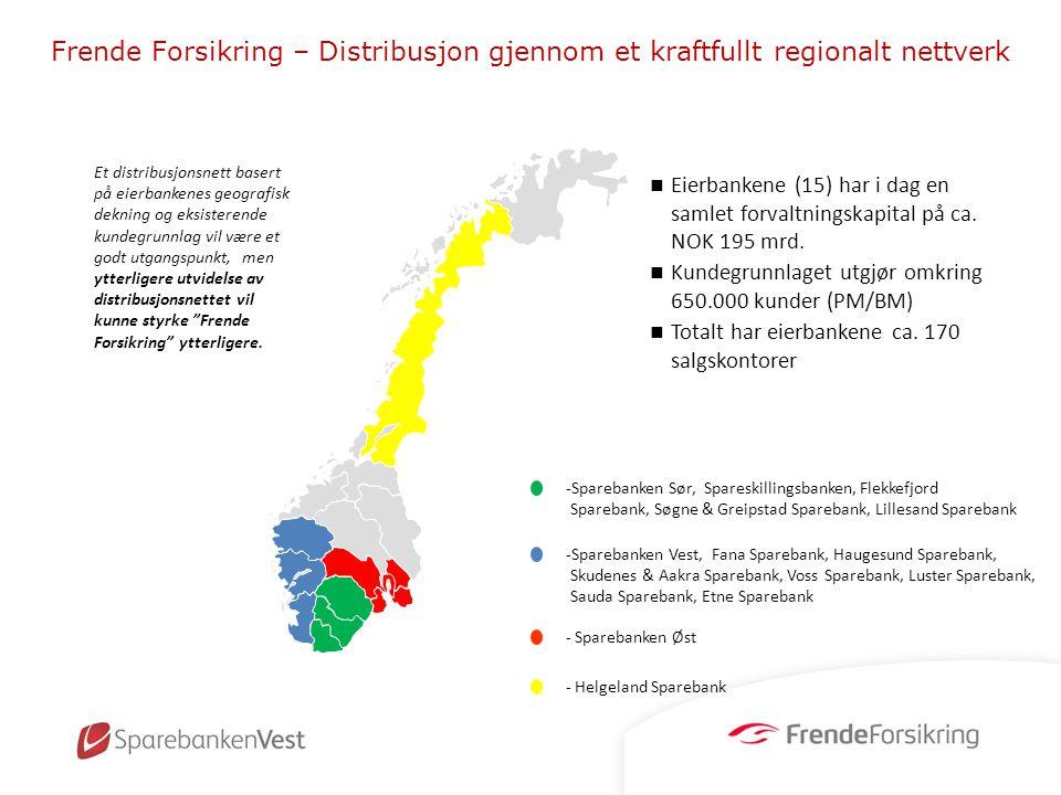 Frende Forsikring – Distribusjon gjennom et kraftfullt regionalt nettverk Et distribusjonsnett basert på eierbankenes geografisk dekning og eksisteren
