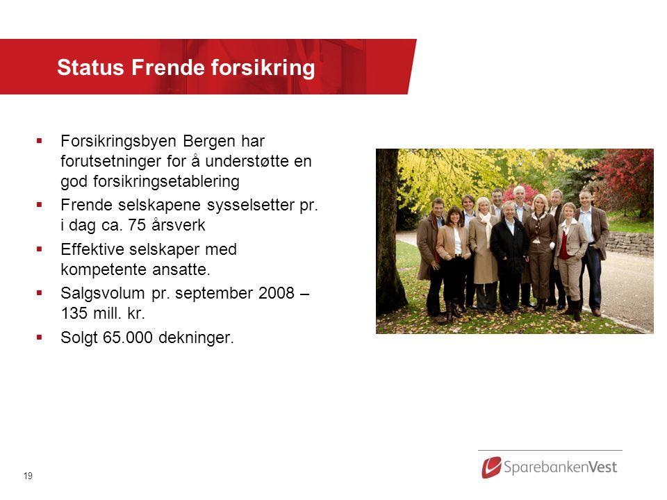 19 Status Frende forsikring  Forsikringsbyen Bergen har forutsetninger for å understøtte en god forsikringsetablering  Frende selskapene sysselsetter pr.