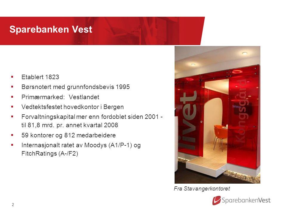 2 Sparebanken Vest  Etablert 1823  Børsnotert med grunnfondsbevis 1995  Primærmarked: Vestlandet  Vedtektsfestet hovedkontor i Bergen  Forvaltningskapital mer enn fordoblet siden 2001 - til 81,8 mrd.